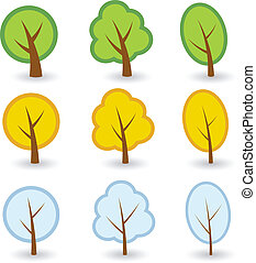 simboli, vettore, albero
