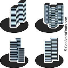simboli, vettore, grattacielo