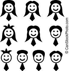 simboli, vettore, maschio, faccia femmina