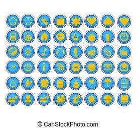 simboli, web, colorare, astratto, blu, set