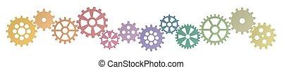 simbolismo, fila, colorido, cooperação, engrenagens