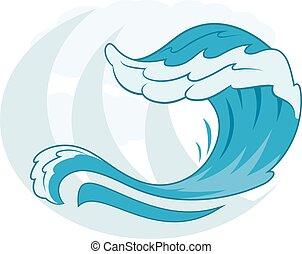 simbolo, 2, mare, onda