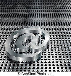 simbolo, 3d, metallico