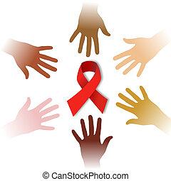 simbolo aiuti, diversità, intorno, mani