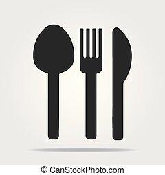 simbolo., appartamento, classico, coltello, circles., forchetta, set, vettore, segno, icon., colorato, cucchiaio tavola, collezione, coltelleria