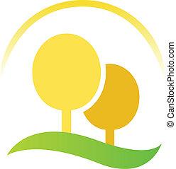 simbolo, arancia, (, isolato, albero, paesaggio, ), bianco