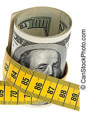 simbolo, austerità, dollaro, pacchetto