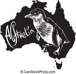 simbolo, australiano, poco, pinguino