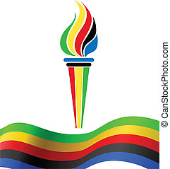 simbolo, bandiera, torcia, olimpico