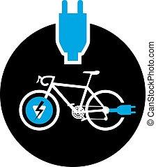 simbolo, bicicletta, elettrico