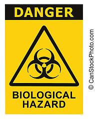 simbolo, biohazard, segno giallo, nero, minaccia, biologico, allarme