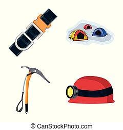 simbolo, campeggiare, web., simbolo., illustrazione, alpinismo, vettore, picco, collezione, casato