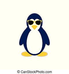 simbolo, carattere, fresco, disegno, mascotte, pinguino
