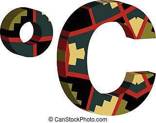 simbolo, celcius, 3d