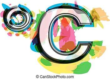 simbolo, celcius, artistico, colorito