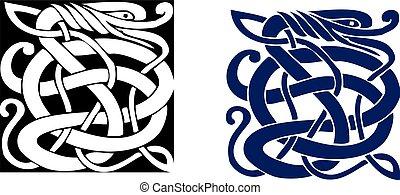 simbolo celtico, grande, complesso, vector., tattoo.