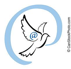 simbolo, colomba, email