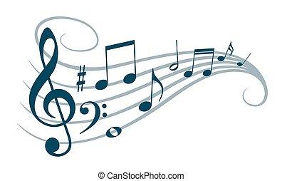 simbolo, con, musica, note.
