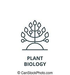 simbolo, contorno, lineare, concetto, biologia, vettore, segno, linea, pianta, icona