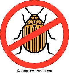 simbolo di avvertenza, con, colorado, patata, scarabeo