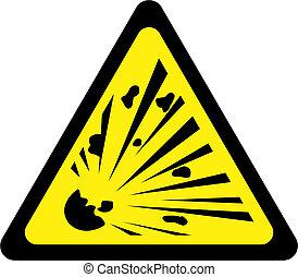 simbolo di avvertenza, esplosivo, giallo, sostanze