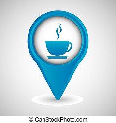simbolo, disegno, caffè caldo, tazza