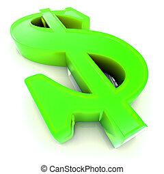 simbolo, dollaro, ci, 3d