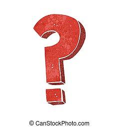 simbolo, domanda, retro, cartone animato, marchio