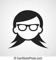 simbolo, donna, occhiali