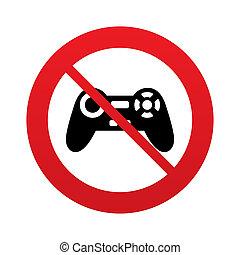 simbolo., don`t, segno, gioco, video, play., joystick, icon.
