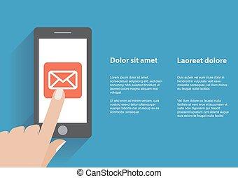 simbolo, email, telefono, mano commovente, schermo, far male
