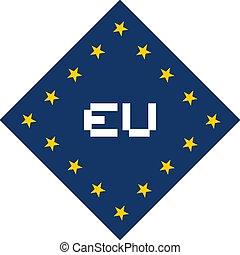 simbolo, europeo, fresco