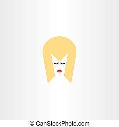 simbolo, faccia, capelli, vettore, biondo, ragazza, icona