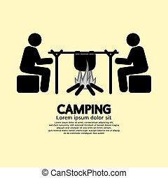 simbolo, falò, campeggio, persone