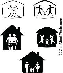 simbolo, famiglia, felice