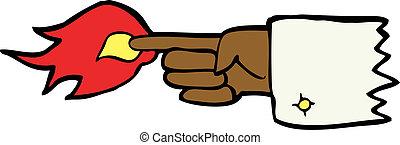 simbolo, fiammeggiante, cartone animato, dito appuntito