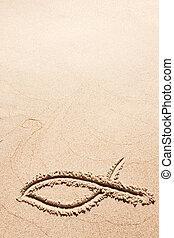 simbolo, fish, sabbia