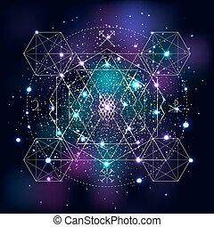 simbolo, fondo., geometria, mistico, spazio