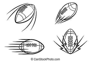simbolo, football, set, collezione