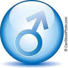 simbolo genere, maschio, bottone