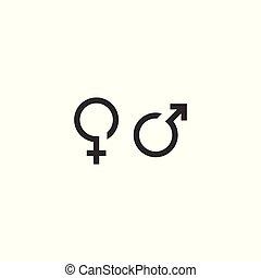 simbolo genere, vettore, femmina, maschio, icona