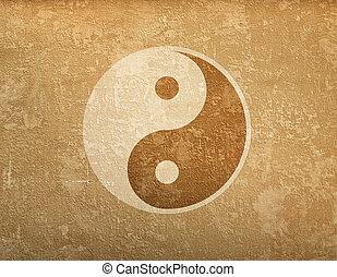 simbolo, grunge, fondo, ying-yang
