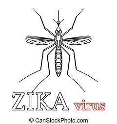 simbolo., icon., zika, isolato, vettore, linea, illustration., virus, magro