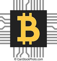 simbolo, icona, microchip), (computer, bitcoin