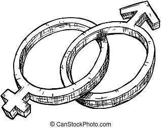 simbolo, illustrazione, mano, femmina, maschio, disegno