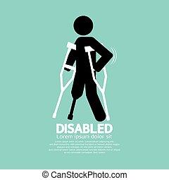 simbolo, illustrazione, stampella, invalido, persona, vettore, nero