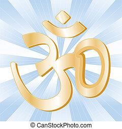 simbolo indù, aumkar, dorato