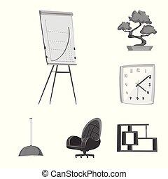 simbolo, lavoro, web., simbolo., illustrazione, vettore, collezione, casa, mobilia, casato