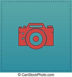 simbolo, macchina fotografica, computer