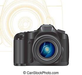 simbolo, macchina fotografica, linee, astratto, fondo